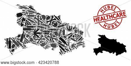 Vector Narcotic Mosaic Map Of Hubei Province. Rubber Health Care Round Red Seal. Concept For Narcoti