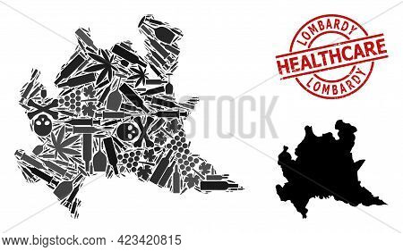 Vector Addiction Collage Map Of Lombardy Region. Rubber Health Care Round Red Imprint. Template For