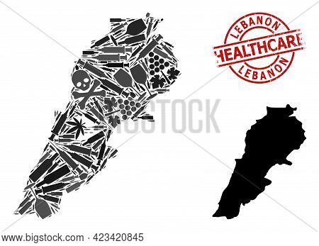 Vector Addiction Collage Map Of Lebanon. Rubber Health Care Round Red Seal. Template For Narcotic Ad