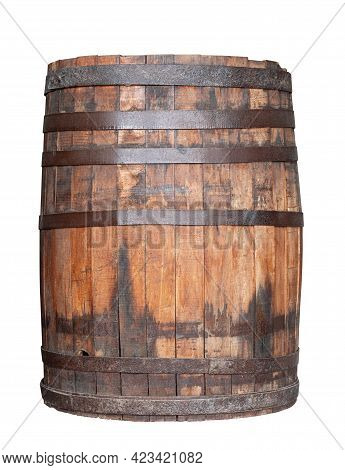 Front View Closeup Of Old Wooden Wine Whiskey Or Beer Barrel With Rusted Metallic Collars Isolated O