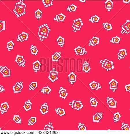 Line Bird House Icon Isolated Seamless Pattern On Red Background. Nesting Box Birdhouse, Homemade Bu