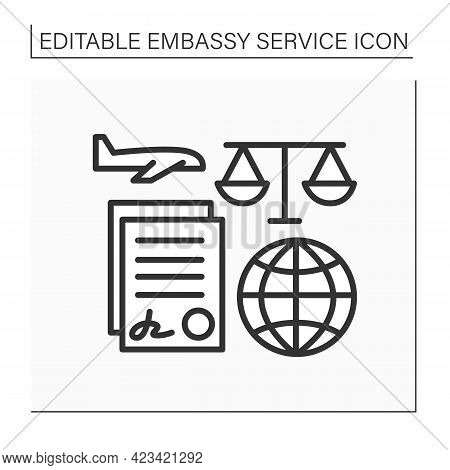 Notary Services Line Icon. Sign Agreement Accepted By Public Notary. Law Consultation. Legal Service