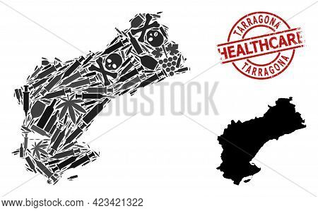 Vector Narcotic Mosaic Map Of Tarragona Province. Grunge Health Care Round Red Badge. Concept For Na