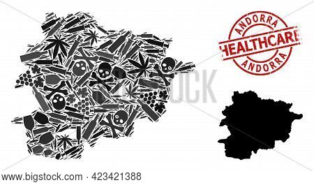 Vector Narcotic Collage Map Of Andorra. Rubber Healthcare Round Red Watermark. Concept For Narcotic