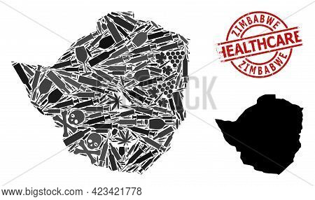 Vector Addiction Mosaic Map Of Zimbabwe. Grunge Health Care Round Red Rubber Imitation. Concept For