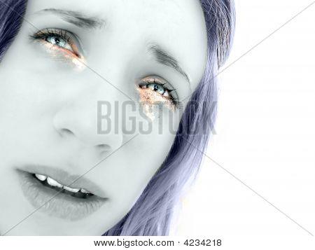 Hot Tears In Girl's Sad Eyes