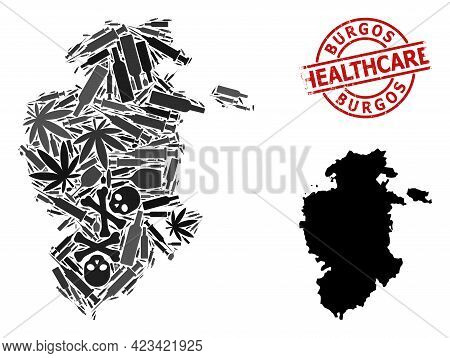 Vector Drugs Collage Map Of Burgos Province. Scratched Health Care Round Red Seal. Concept For Narco