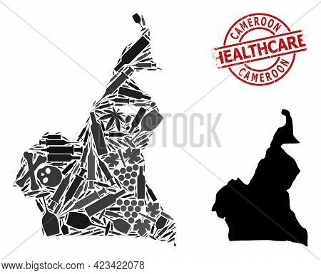 Vector Narcotic Composition Map Of Cameroon. Scratched Healthcare Round Red Stamp. Template For Narc