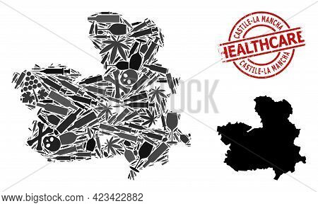 Vector Addiction Collage Map Of Castile-la Mancha Province. Grunge Healthcare Round Red Seal Stamp.