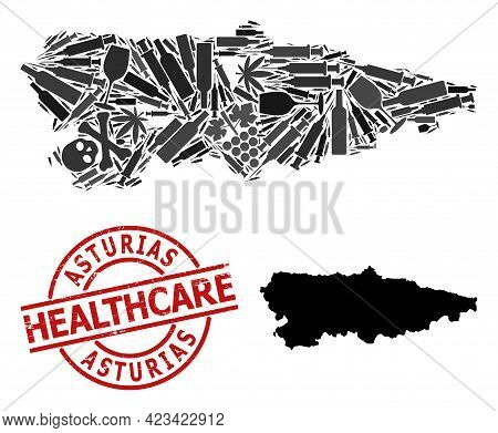 Vector Drugs Composition Map Of Asturias Province. Grunge Health Care Round Red Stamp. Concept For N
