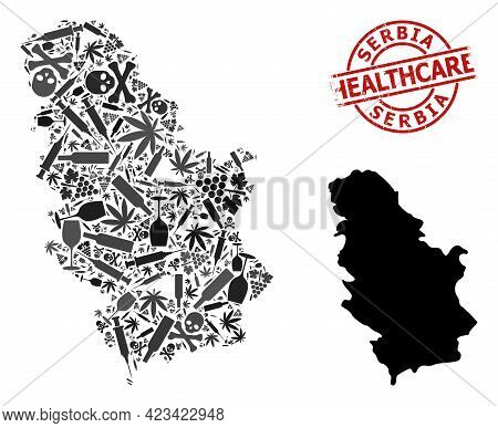 Vector Narcotic Composition Map Of Serbia. Grunge Healthcare Round Red Seal Stamp. Concept For Narco