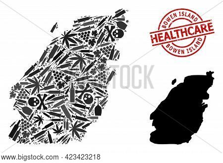 Vector Narcotic Composition Map Of Bowen Island. Rubber Health Care Round Red Badge. Concept For Nar