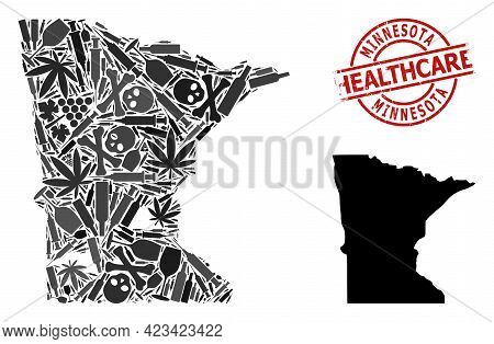 Vector Narcotic Composition Map Of Minnesota State. Rubber Health Care Round Red Imprint. Concept Fo