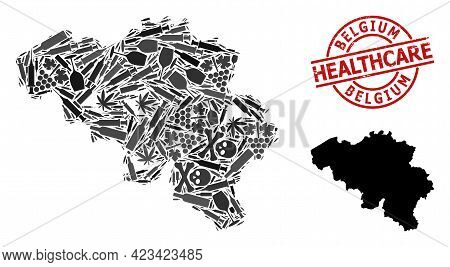 Vector Narcotic Mosaic Map Of Belgium. Rubber Healthcare Round Red Rubber Imitation. Concept For Nar