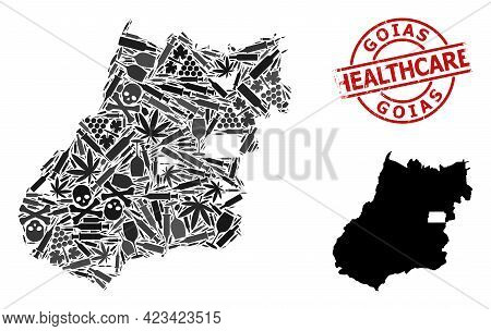 Vector Narcotic Mosaic Map Of Goias State. Grunge Health Care Round Red Imprint. Concept For Narcoti