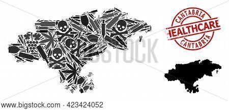 Vector Addiction Mosaic Map Of Cantabria Province. Scratched Health Care Round Red Imprint. Template
