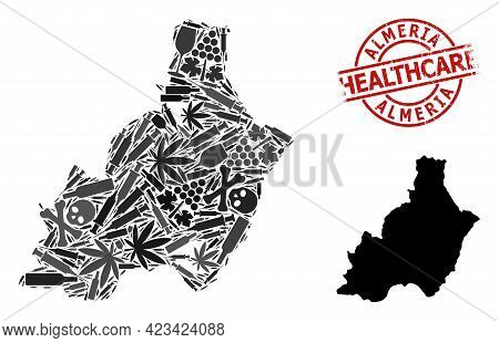 Vector Narcotic Composition Map Of Almeria Province. Rubber Health Care Round Red Seal. Concept For