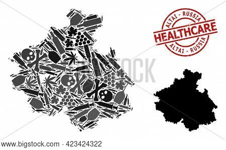 Vector Addiction Mosaic Map Of Altai Republic. Scratched Health Care Round Red Badge. Concept For Na