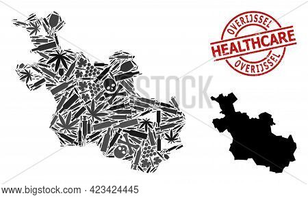 Vector Narcotic Mosaic Map Of Overijssel Province. Scratched Healthcare Round Red Watermark. Concept