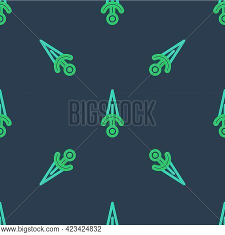 Line Dagger Icon Isolated Seamless Pattern On Blue Background. Knife Icon. Sword With Sharp Blade. V