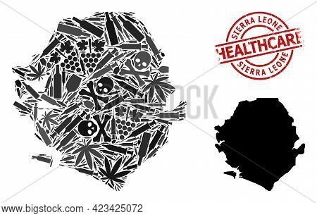 Vector Addiction Composition Map Of Sierra Leone. Rubber Health Care Round Red Seal. Template For Na