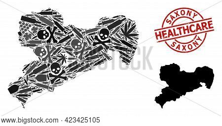 Vector Addiction Collage Map Of Saxony State. Grunge Health Care Round Red Imprint. Concept For Narc