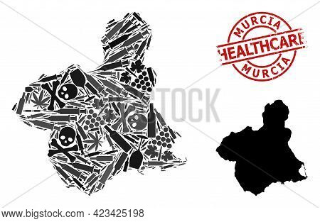 Vector Addiction Composition Map Of Murcia Province. Scratched Health Care Round Red Watermark. Temp