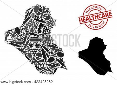 Vector Addiction Collage Map Of Iraq. Grunge Health Care Round Red Badge. Concept For Narcotic Addic