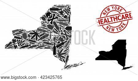 Vector Addiction Composition Map Of New York State. Rubber Healthcare Round Red Badge. Template For