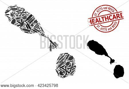 Vector Narcotic Mosaic Map Of Saint Kitts And Nevis. Grunge Health Care Round Red Watermark. Templat