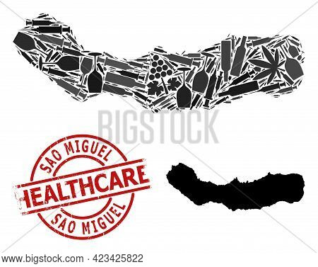 Vector Addiction Composition Map Of Sao Miguel Island. Scratched Healthcare Round Red Badge. Concept