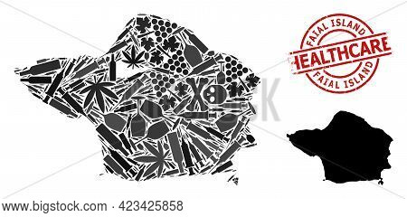 Vector Narcotic Mosaic Map Of Faial Island. Scratched Health Care Round Red Imprint. Concept For Nar
