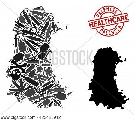 Vector Addiction Composition Map Of Palencia Province. Rubber Health Care Round Red Imprint. Concept