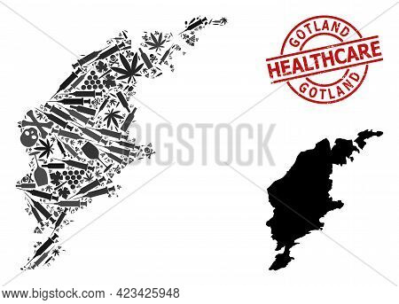 Vector Addiction Mosaic Map Of Gotland Island. Rubber Health Care Round Red Badge. Template For Narc