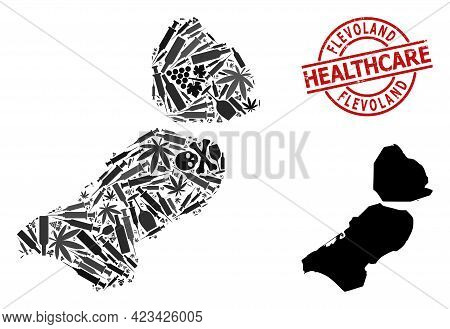 Vector Narcotic Collage Map Of Flevoland Province. Scratched Health Care Round Red Badge. Concept Fo