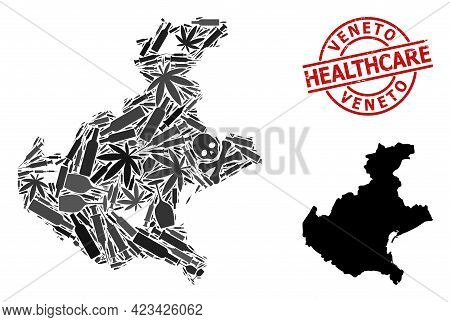 Vector Narcotic Composition Map Of Veneto Region. Grunge Health Care Round Red Rubber Imitation. Tem