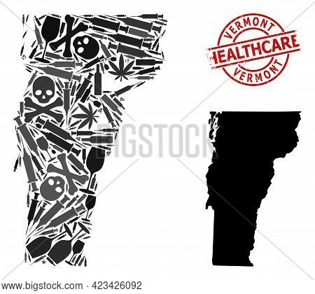 Vector Narcotic Mosaic Map Of Vermont State. Scratched Health Care Round Red Rubber Imitation. Conce