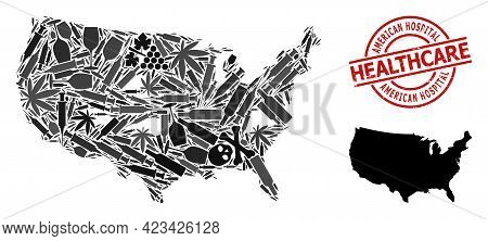 Vector Addiction Mosaic Map Of Usa. Rubber Healthcare Round Red Seal Stamp. Template For Narcotic Ad