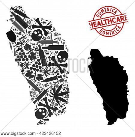 Vector Narcotic Collage Map Of Dominica Island. Scratched Health Care Round Red Seal Stamp. Template