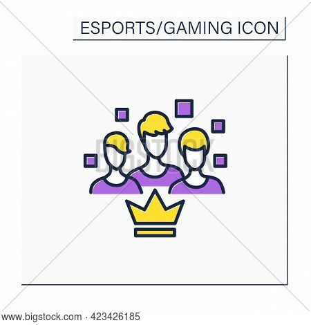 Team Color Icon.like-minded People. Gamers Brigade. Take Part At Gaming Competitions. Cybersport Con