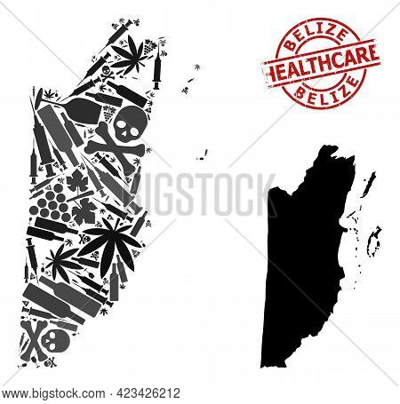 Vector Drugs Composition Map Of Belize. Rubber Health Care Round Red Rubber Imitation. Template For