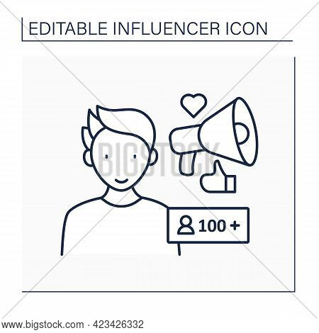 Nano Influencer Line Icon. Unpopular Blogger, No Name. Low Influence On Audiences. Blogging Concept.