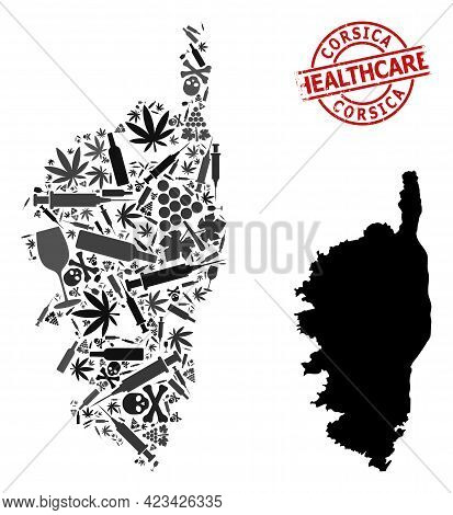 Vector Drugs Composition Map Of Corsica. Grunge Health Care Round Red Seal. Template For Narcotic Ad