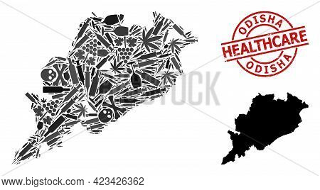 Vector Narcotic Collage Map Of Odisha State. Rubber Health Care Round Red Rubber Imitation. Concept