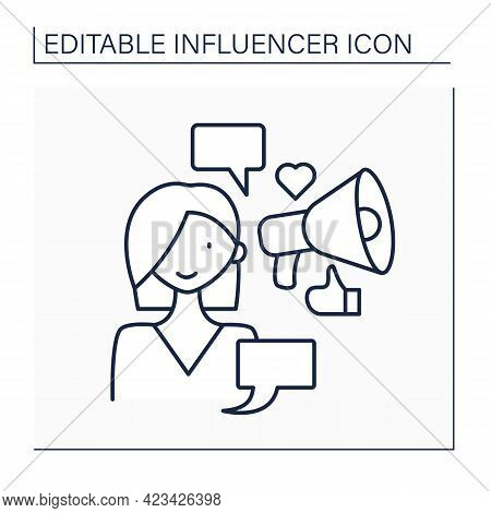 Influencer Line Icon. Woman Write Social Posts On Web Sites. Influence On Audiences. Content For Sub