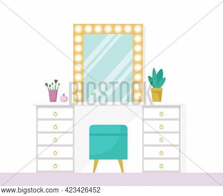 Flat Vector Illustration With Make Up Vanity Table, Mint Poof, Gold Mirror With Lights Isolated On W