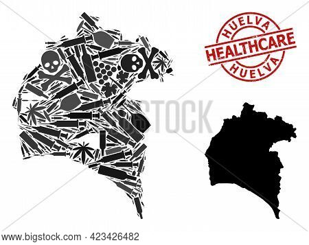 Vector Addiction Collage Map Of Huelva Province. Rubber Health Care Round Red Rubber Imitation. Conc
