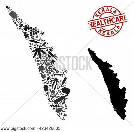 Vector Narcotic Collage Map Of Kerala State. Scratched Healthcare Round Red Watermark. Template For