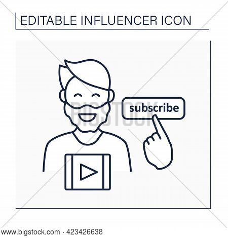 Influencer Line Icon. Man Creates Content On Online Video Platform. Free Video Sharing For Subscribe