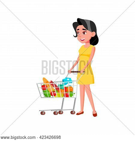 Young Lady Buying Products Food In Supermarket Cartoon Vector. Young Lady Buying Products Food In Su